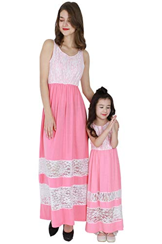YMING Beach Maxi Dress Family Outfits Matching Mother Daughter Dress Kid,s,Pink,2-3Y ()