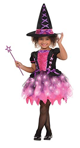 - Amscan 846863 Girls Light-Up Sparkle Witch Costume, Medium (8-10), Black/Pink