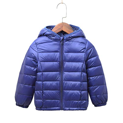 Jacket Puffer Hooded Girls (Children Ultra Lightweight Quilted Hooded Puffer Jacket for Boys and Girls Outwear Windproof Coats KD8708 Navy 2-3 Years Old)