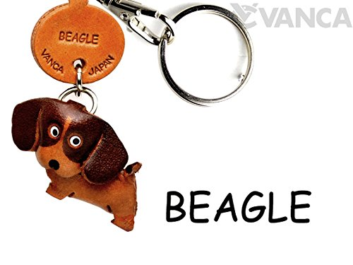 Leather Dog Key Ring - Beagle Leather Dog Small Keychain VANCA CRAFT-Collectible Keyring Charm Pendant Made in Japan