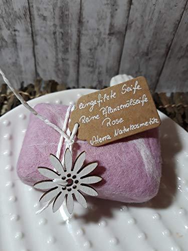 Eingefilzte Seife Naturkosmetik ROSE Filzseife Weihnachten