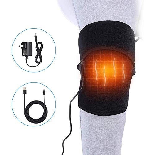 Heat Knee Brace for Hot or Cold Therapy, USB Electric Heating Knee Pad Wrap for Arthritis Pain Relief, Joint Warmer, Cramps, Muscles Stiff and Strains, Fits Men and Women Knee Calf Leg Arm Area