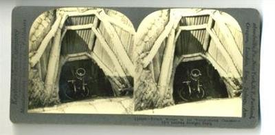 (Keystone Stereoview Trench Mortar in Timbered Chamber World War One)
