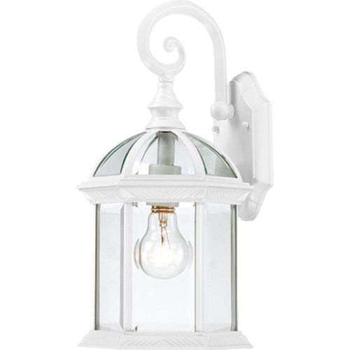 (Nuvo Lighting 60/4961 Boxwood One Light Small Wall Lantern/Arm Down 100 Watt A19 Max. Clear Beveled Glass White Outdoor Fixture)