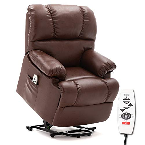 ERGOREAL Lift Chair, Electric Power Lift Recliner, Heat and Massage Recliner with PU Leather Upholstery for The Elderly. Light Brown