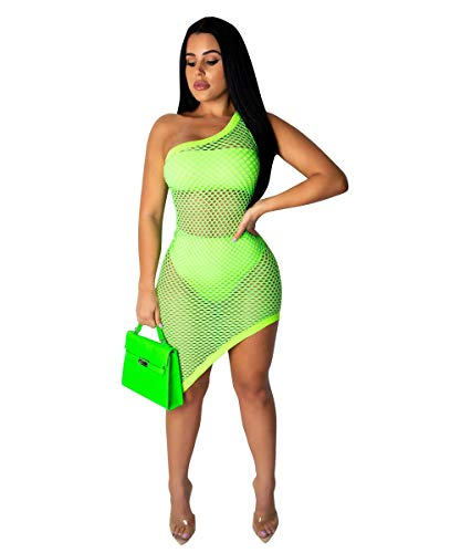 - UPSTONE Women's 3 Pieces Swimwear Sexy Summer Beach Dresses Bandeau Top Bikini Set Fishnet One Shoulder Cover Up Outfits Clubwear 888CM554 Light Green-S