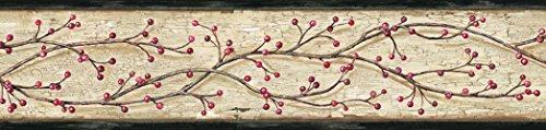 Chesapeake PUR44612B Florence Sand Winterberry Branch Trail Wallpaper Border