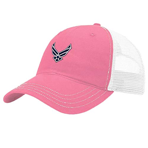 Trucker Hat Richardson Air Force Emblem Embroidery Design Cotton Soft Mesh Cap Snaps Pink/White Design Only