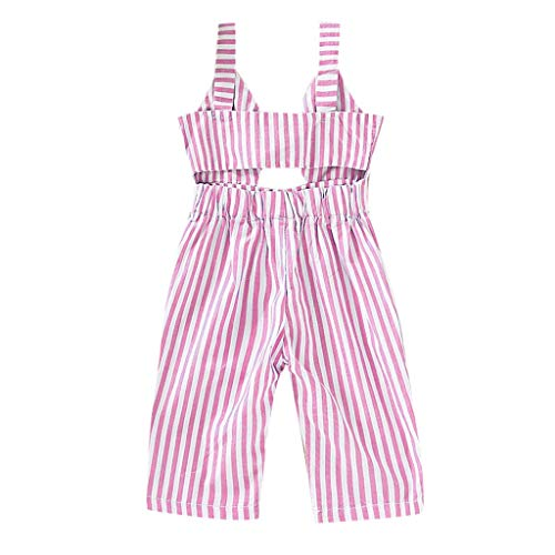 - pollyhb Baby Romper, Baby Girl Kid Straps Backless Striped Overall Jumpsuit Romper Casual Clothes Pink