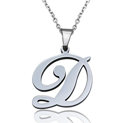 FUNRUN Womens Mens Stainless Steel Initial Letter Pendant Necklace,Letter D