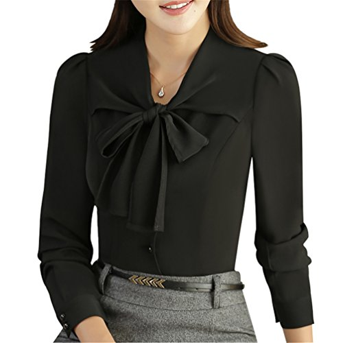 JHVYF Women's Chiffon Long Sleeve Blouse Bow-Tie V Neck Slim Fit Button Down Shirt Black US 4(Asian Tag - Chiffon Bow Black