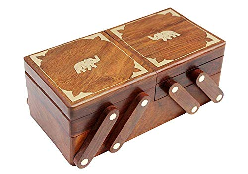Christmas' Day / Birthday / Anniversary Gift' Elephant Design Wooden Treasure Chest Three' Folding Elephant Storage Box Perfect Wooden Jewelry boxes for women ,girls 8 x 4 inches - Pretty Gift' Item (Definition Furniture Design)