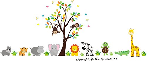 Zoo Animal Wall Mural - Safari Animal Stickers - Jungle Animal Baby Room Theme - Baby Girls - Nursery Interior - Nursery Design - Wall Decals for Nursery - Kids Style by Nursery Wall Decals