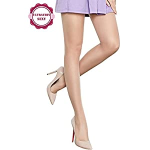 Best Women's Control Top 10 Den All Sheer Toe Silk Stockings Tights Panty Hose, Nude Tights, Size M/L