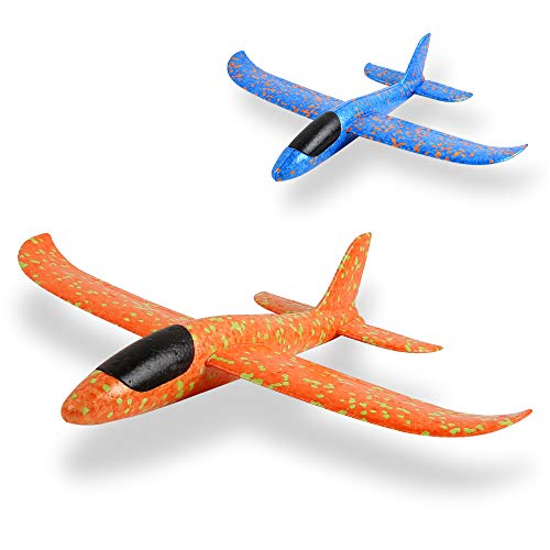 EPP Foam Airplane 2 Pcs,Outdoor Game Flying Toys for 3 4 5 6 7+ Year Old Boys Girls, Christmas Toys Gifts Present for Kids Children ()