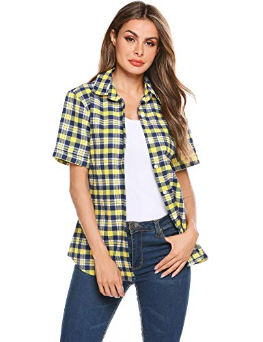 (SUNAELIA Womens Short Sleeve Boyfriend Button Down Plaid Flannel Shirt Cotton Casual Blouse Check Gingham Top S-XXL)
