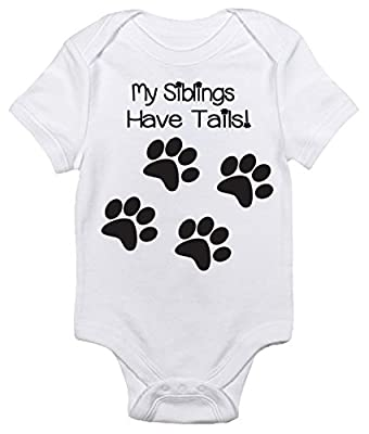 My Siblings Have Tails Funny One-piece Baby Bodysuit Clothes for Boys and Girls