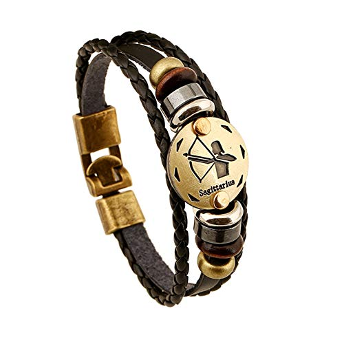 (Fodimex - Fashion Charm Jewelry Bronze Alloy 12 Zodiac Leather Bracelet Punk Wooden Beads for Women & Men Multilayer Easy Buckles [ 1 2PC ])