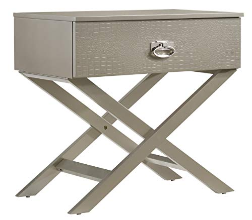 - Glory Furniture Xavier G0070-N X, Silver Champagne Nightstand, Side Table 25