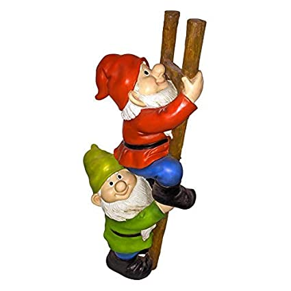 Design Toscano QM2360100 Up The Ladder Climbing Funny Gnome Garden Statue,  11 Inch, Multicolored