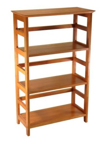 SKB family 4-Tier Book-shelf Wood Bookcase in Honey Finish home Storage relocate Antique reliably Crafted insatiable 12 x 26 x 42 inches