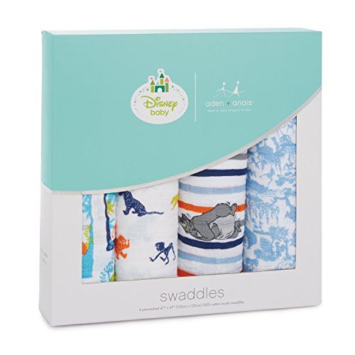 aden + anais Disney Swaddle Blanket, Boutique Muslin Blankets for Girls & Boys, Baby Receiving Swaddles, Ideal Newborn & Infant Swaddling Set, 4 Pack, Jungle Book