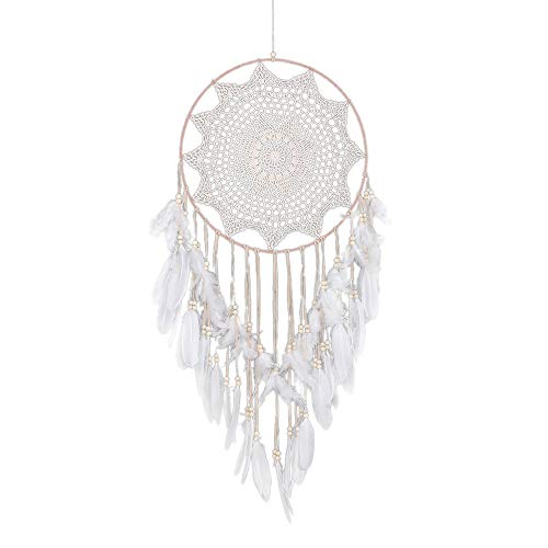 ☀ Dergo ☀ Dream Catcher Handmade Lace Dream Catcher Feather Bead Hanging Decoration Ornament Gift