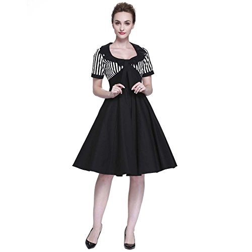 (Heroecol Vintage 1950s 50s Dress Style Retro Rockabiily Cocktail Bow Neck M)