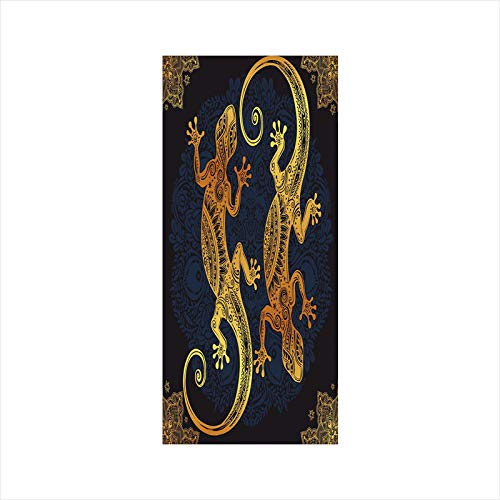 Decorative Window Film,No Glue Frosted Privacy Film,Stained Glass Door Film,Artistic Gecko Lizard Figures Boho Framework Tropical Henna Tattoo Style,for Home & Office,23.6In. by 35.4In Gold Dark ()