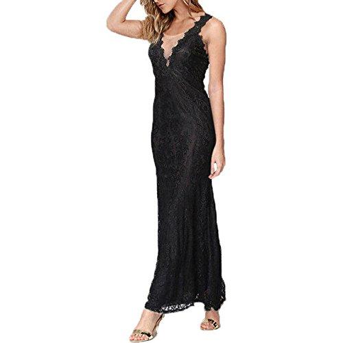 Long Plus V Splice Black Dress Womens Deep Neck Lace BetterGirl Size Sexy TM qxnwESYvCA