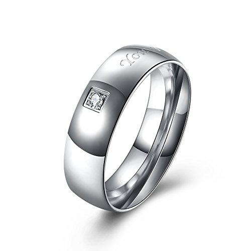 HongBoom Jewelry Fashion Men Women's Platinum Plated 316L Titanium Steel Wedding Couples Rings (palladium-men, 7) Palladium Platinum Ring