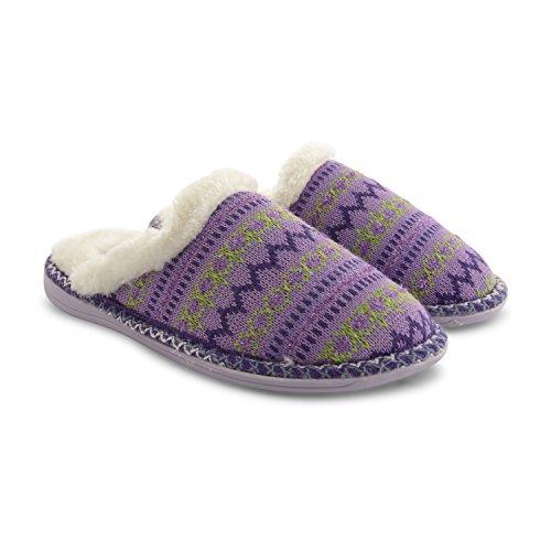 New Dunlop Damen Winter Webpelz-Futter, Slip On Slipper Pantoletten, flach, für den Innenbereich, Warm, Design House Clogs Purple Knitted