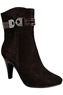 2c4553d3666a FANTASIA BOUTIQUE ® Ladies Patent Contrast Warm Suede Buckle Accent Women s  Ankle Heel Boots