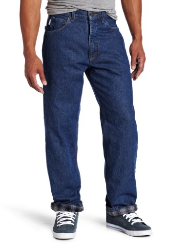 Quilted Jeans (Carhartt Men's Relaxed Fit Straight Leg Flannel Lined,Dark Stone,38Wx30L)