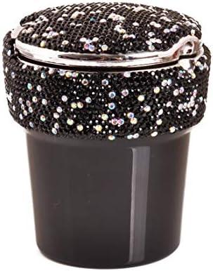 ポータブルで掃除が簡単 灰皿とLEDダイヤモンドユーティリティビークル 車、オフィス、家、バー、宴会、その他の機会に適しています (Color : Black)