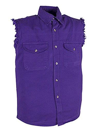 CD D C Mens Cut Off Sleeveless Cotton Denim Button up Biker Shirts in 12 Colors (L, (Cotton Sleeveless Jeans)