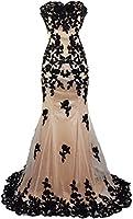 Meier Women's Strapless Lace Bead Formal Evening Gown
