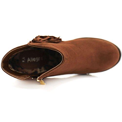 Allegra Fringe Trim Ankle 5 Block Women's Boots K 8 Zip Cognac US Size Side Heel EqFrq
