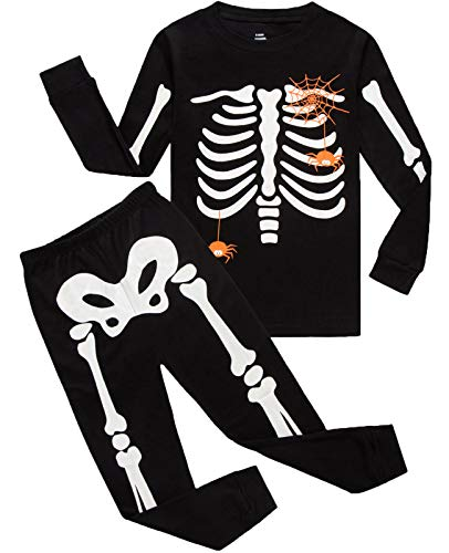 Boys Halloween Pajamas Skeleton-Glow-in-The-Dark Toddler Pjs Kids Clothes Shirts Size 3T]()