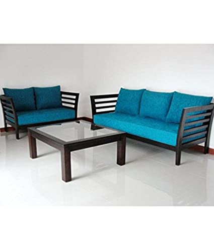 01c8a377121 Woodkartindia Modern Design Wooden 3+2 Seater Sofa Set with Cushion (Blue)   Amazon.in  Electronics
