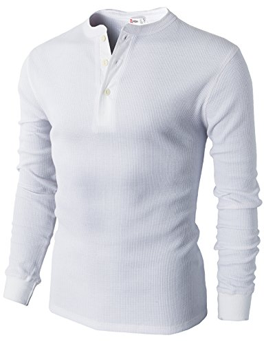 3 Button Casual Shirt - H2H Men's Walden Long Sleeve Blended Thermal 3 Button Henley Shirt White US L/Asia XL (CMTTL045)