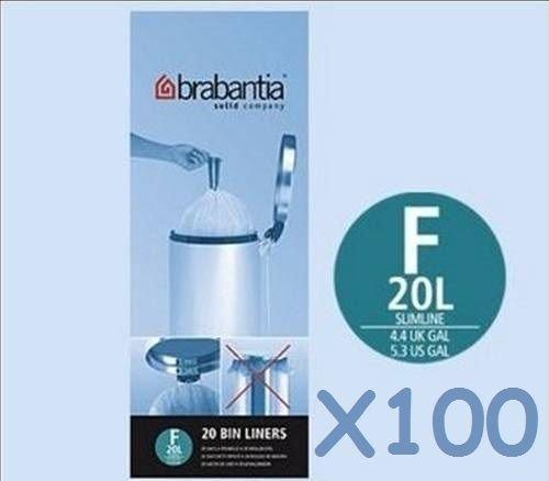 100 x blanco brabantia Slimline - Bolsas de basura tipo F ...
