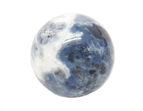 Fundamental Rockhound Products: 20 mm Sodalite Gemstone Sphere with Stand (Blue and ()