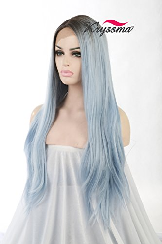 K'ryssma Ombre Blue Dark Roots Synthetic Hair Lace Front Wig For Party Long Naural Wavy Side Part Heat Resistant Glueless Replacement Full Wigs For Women 24 Inches