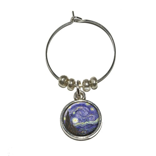 - Starry Night by Vincent Van Gogh Wine Glass Charm Drink Stem Marker Ring