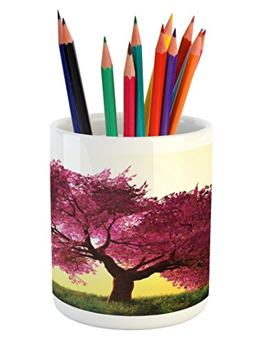 Majestic Blossoms - Lunarable Japanese Pencil Pen Holder, Mystic Majestic Pink Cherry Blossom Tree Floral Leaves Asian Nature Themed Design, Printed Ceramic Pencil Pen Holder for Desk Office Accessory, Pink Yellow