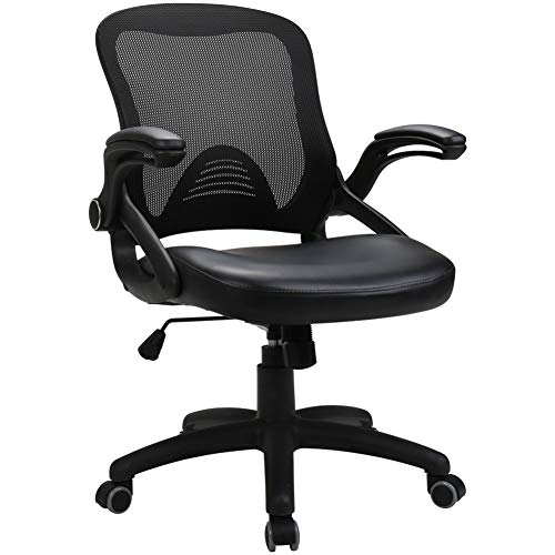 Cheap Zenith Ergonomic Mid Back Mesh Office Chair with Adjustable Armrest Task Desk Chair Computer Chair Guest Chairs Reception Chairs (Black Slim)