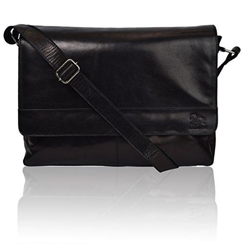 "Leather Laptop Messenger Bag for Men - Premium Office Briefcase 14"" Macbook Professional College Mens Womens Side Bags (Pure Black)"