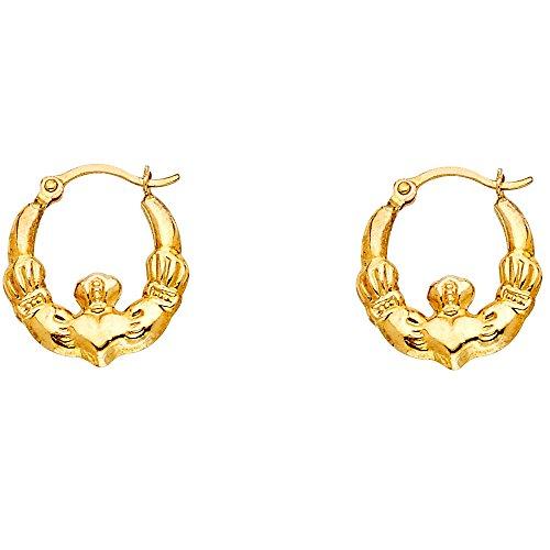 14k Yellow Gold Fancy Claddagh Hoop Earrings (12 x 12mm)