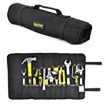 Acentix® F – Series Canvas Tools Organizer Tool Roll Up Bag 27 – Pockets slots & 15 - Socket Slots Tool Roll Pouch suitable for Wrenches Pliers Screwdrivers Spanners Hammers size 58.5cm X 34.5cm Electrician Roll Up Tool bag (BLACK Color)